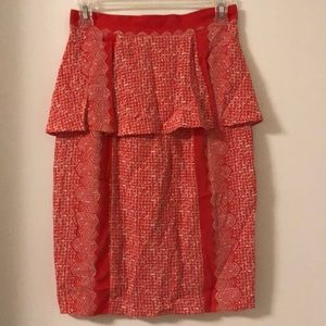 Print Peplum Pencil Skirt